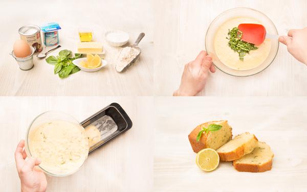 Bizcocho de yogur con limón y albahaca