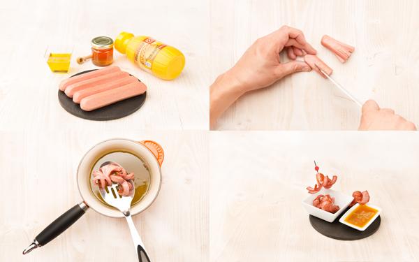 Pulpitos de salchicha con salsa agridulce