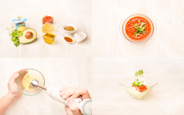 Sopa fría de aguacate con salsa de tomate picante