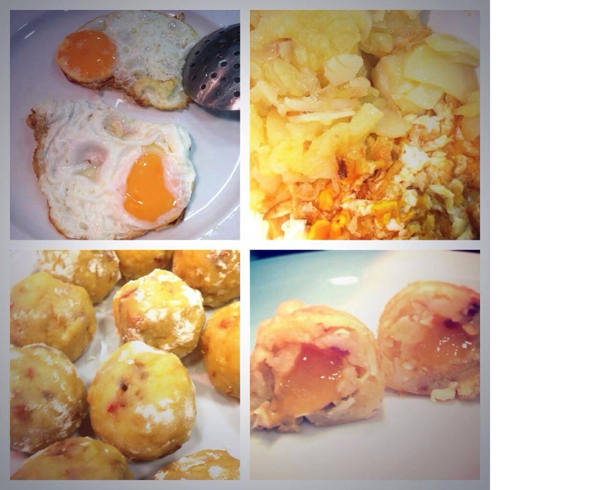 Croquetas de huevos rotos con chorizo