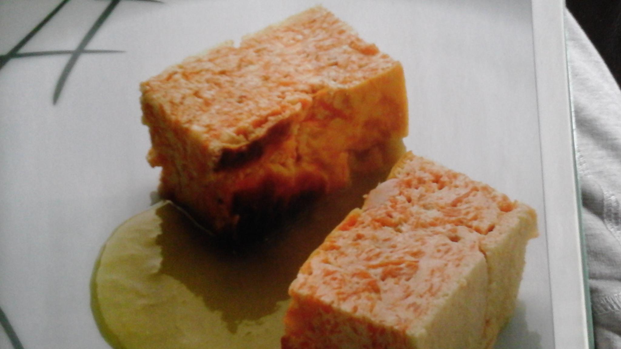 pastel de calabaza con crema de puerros