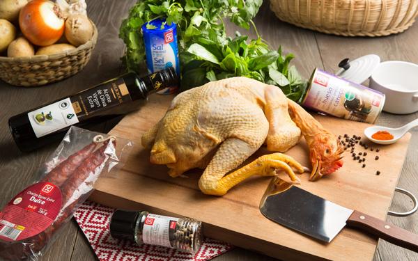 pollo asado con fabes y chorizo
