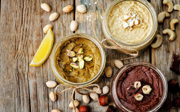 mantequillas de pistacho, avellanas y anacardos