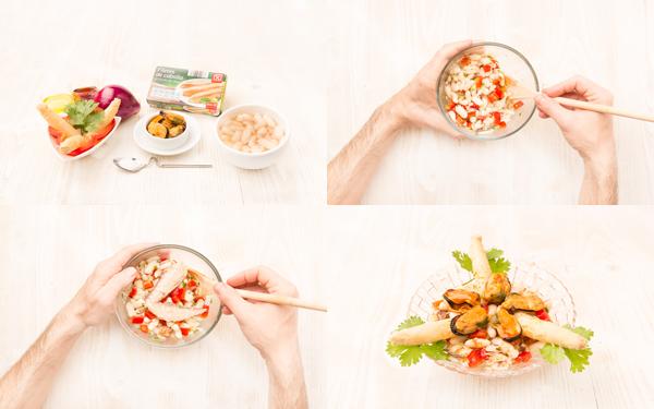 Ensalada de alubias, mejillones y caballa