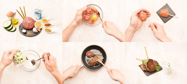 Kebab de ternera picada y salsa de yogur