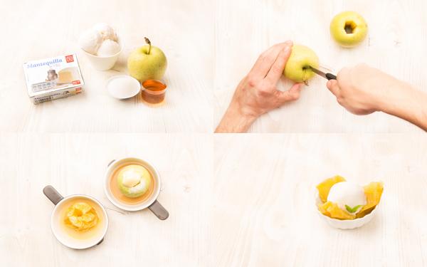 Manzanas asadas al micro con sorbete de limón