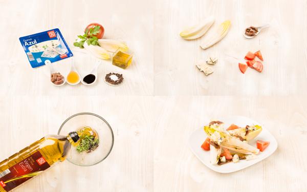Ensalada de endibias con queso azul