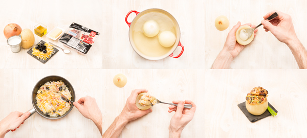 Cebollas rellenas de jamón