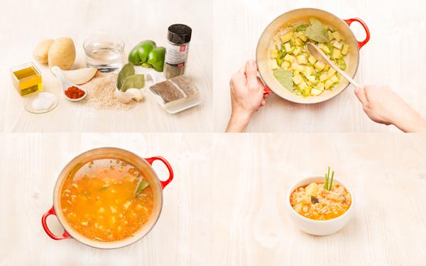 Arroz, patatas y bacalao