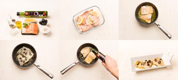 Trucha con tomillo y aceitunas negras