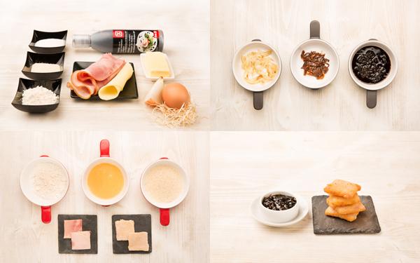 Mini san jacobo de lacón y cebolla caramelizada