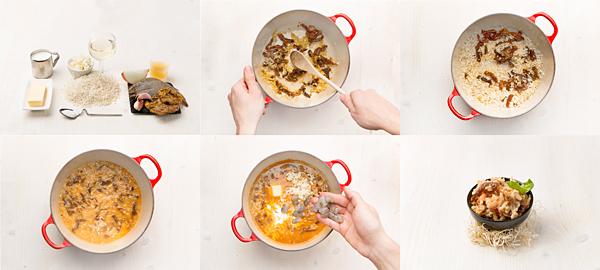 Risotto de langostinos y tomate seco