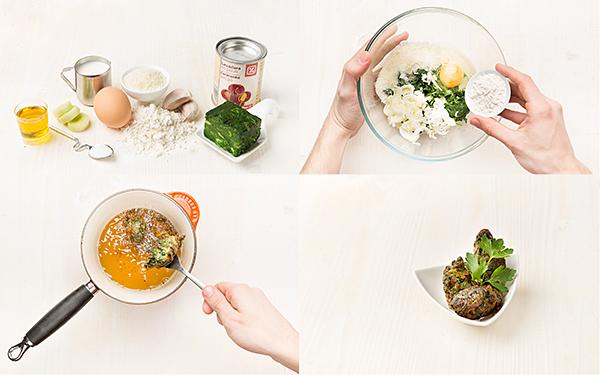 Buñuelos de espinacas y parmesano