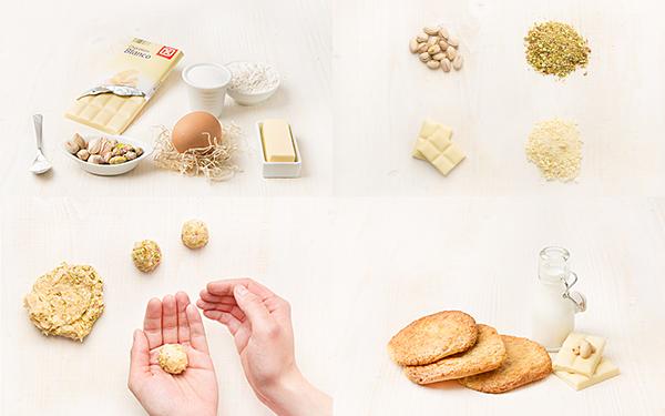 Galletas de chocolate blanco con pistachos