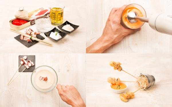 Brocheta de pulpo en tempura con mayonesa de piquillos