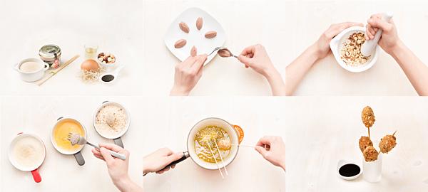 Brochetas de paté fritas con frutos secos