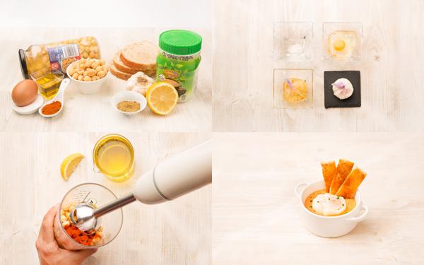 Hummus con flor de huevo y tosta de pimentón