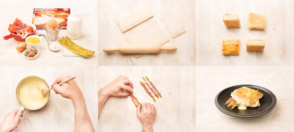Hojaldre de espárragos verdes con salsa de mostaza