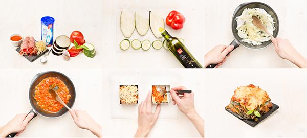 Lasaña de verduras con jamón, sin pasta