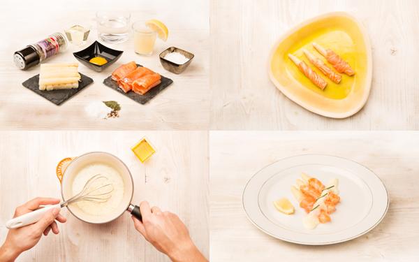 Espárragos blancos con salmón ahumado y 'falsa salsa holandesa'