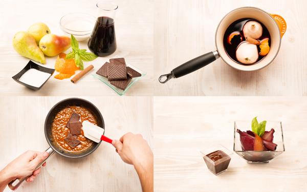 Peras al vino con toffee de chocolate