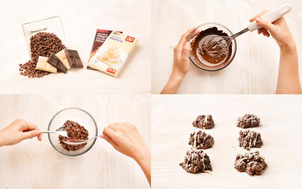 Rocas de chocolate con arroz crujiente