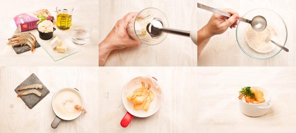 Langostinos en tempura con crema de coliflor y queso