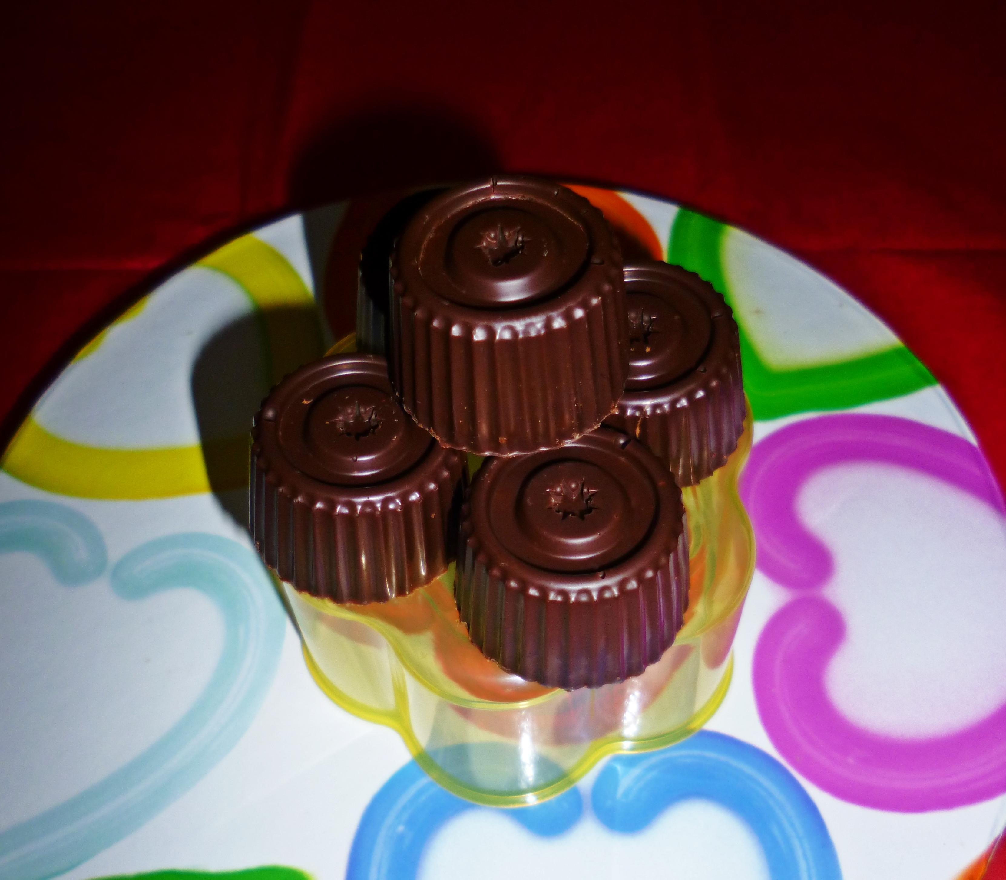 Bombones de chocolate rellenos de toffe