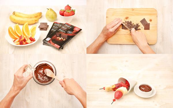 Foundue de chocolate y frutas