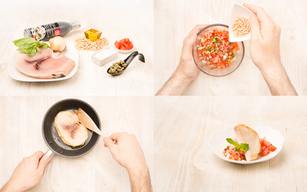 Pez espada -emperador- con salsa mediterránea