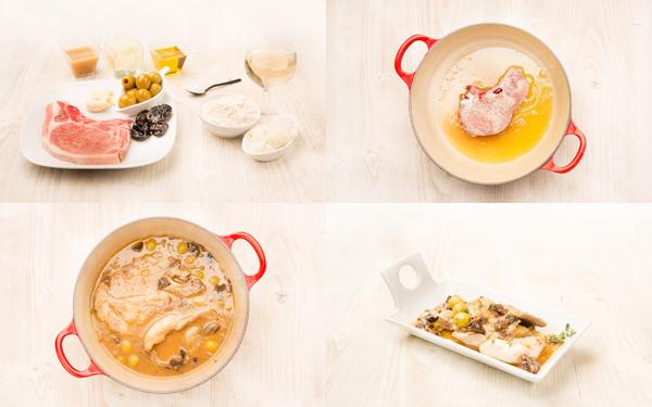 Chuletas de cerdo con salsa de ciruelas y aceitunas