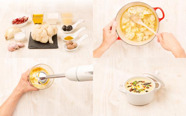 Crema de coliflor con virutas de jamón