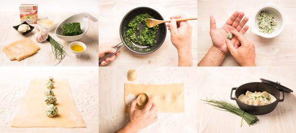 Raviolis rellenos de espinacas y requesón al parmesano