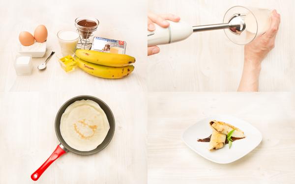 Crepes de plátano y chocolate
