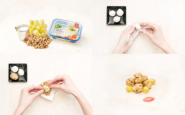 Bolitas de queso, con uvas y con nueces
