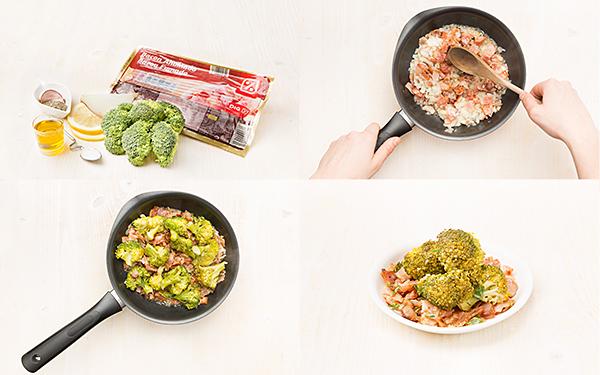 Brócoli con bacón, tomillo y cebolla caramelizada