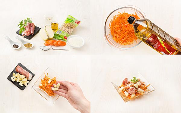 Ensalada de zanahoria con manzana y jamón serrano