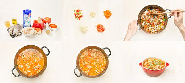 Guiso de chipirones y alubias con tomate