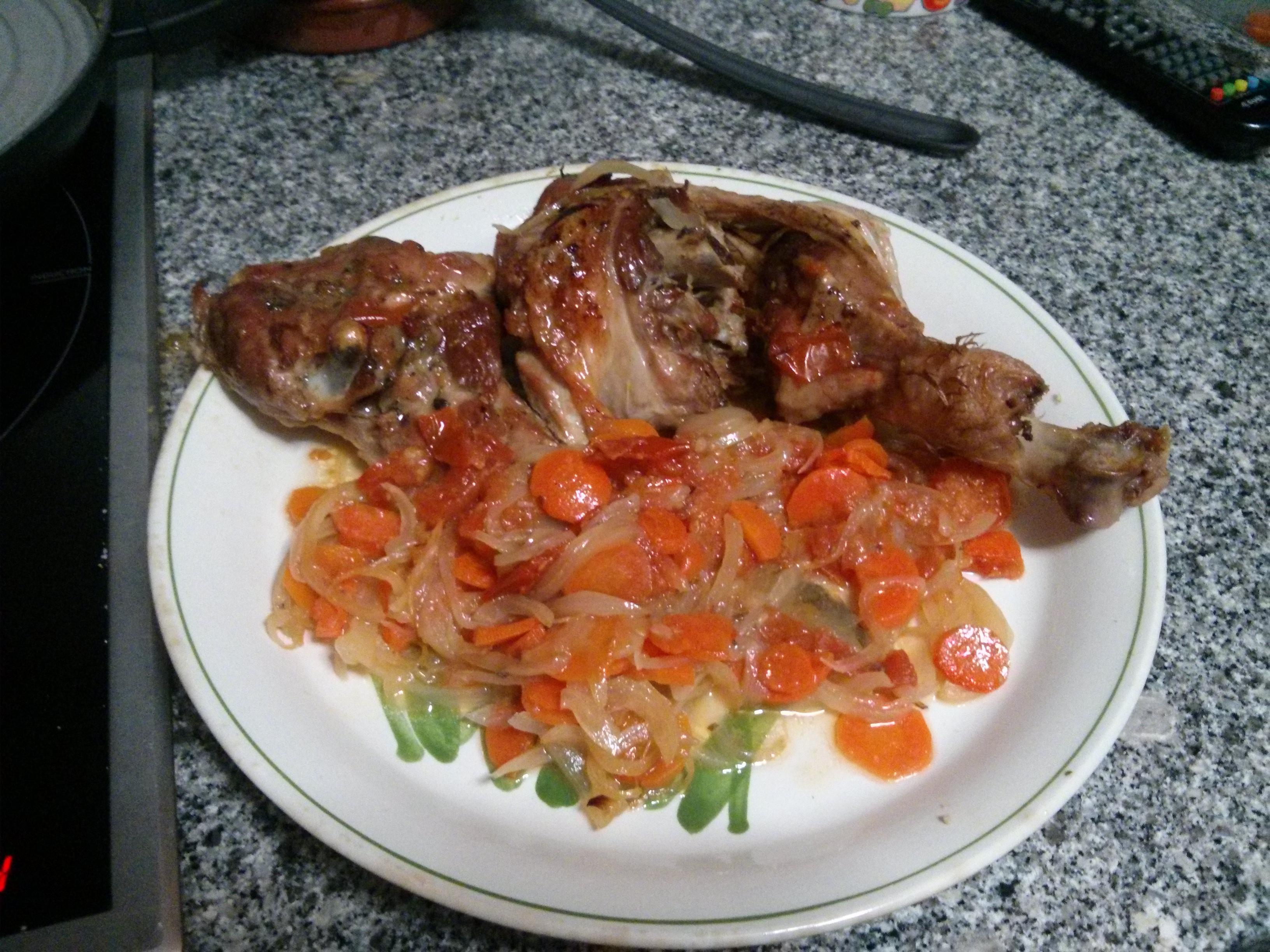 Patorra al horno con verduras