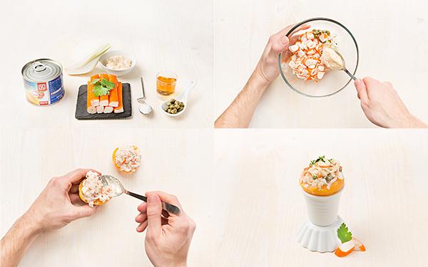 Melocotones en almíbar con ensalada de surimi