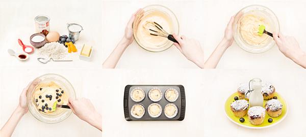 Muffins nevados de arándanos
