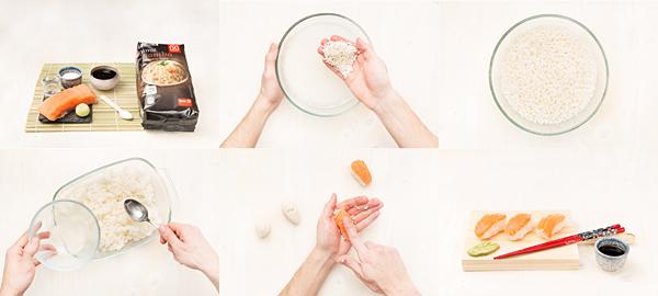 Sushi: nigiris con salmón