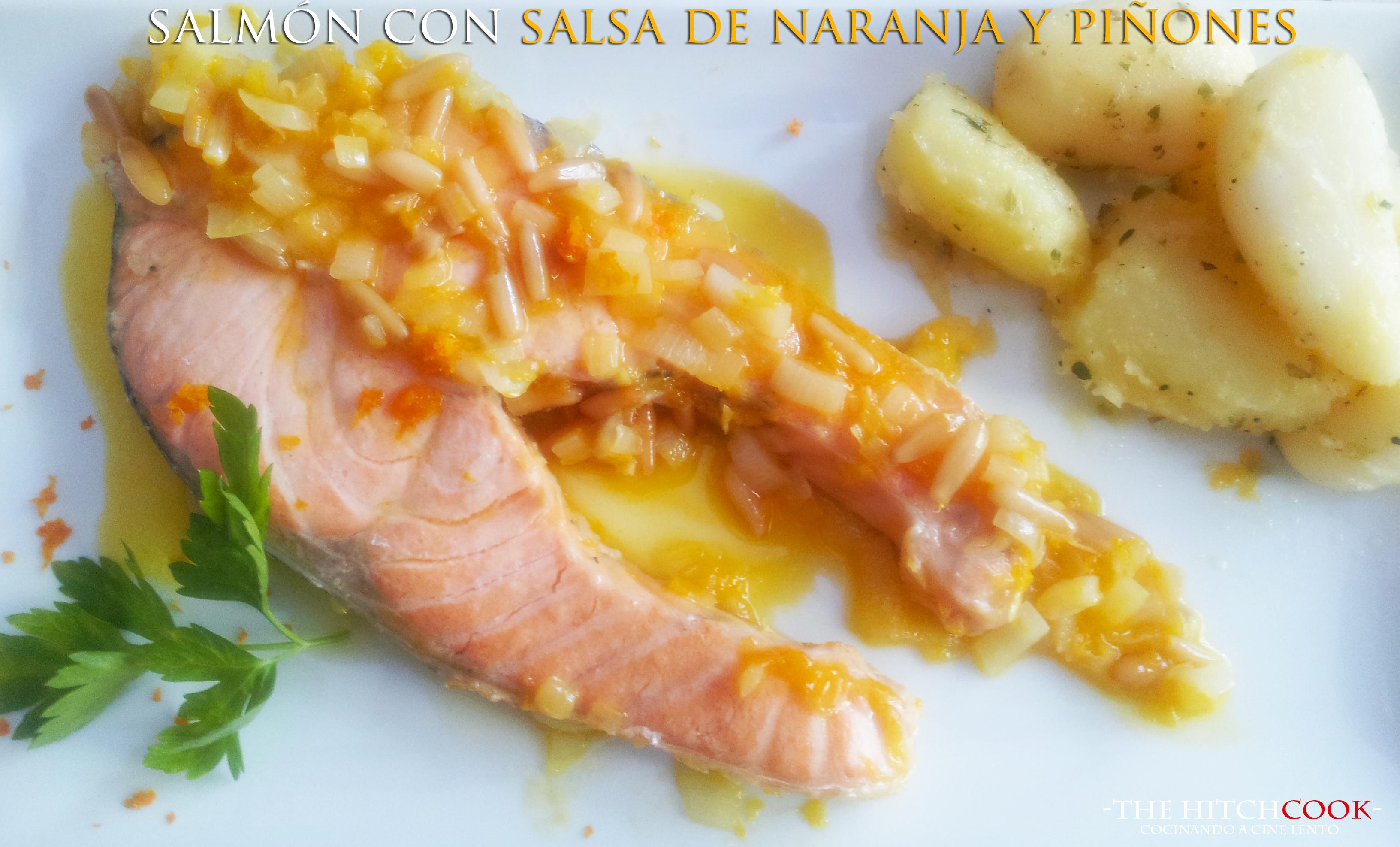 Salmón con salsa de naranja y piñones