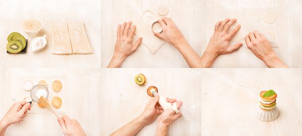 Milhojas con crema pastelera y kiwi