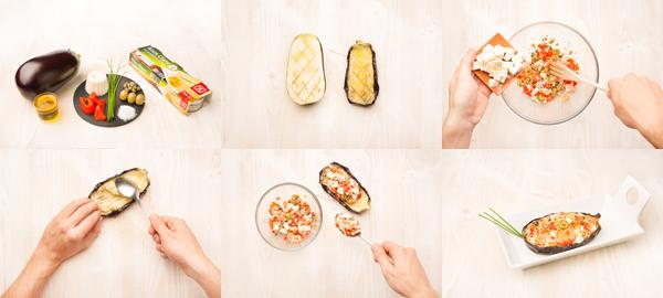 Berenjenas rellenas de queso y bonito