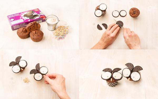 Cupcake búho de chocolate y galletas