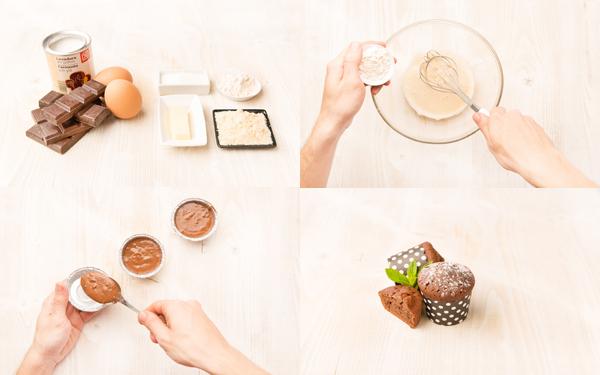 Magdalenas de chocolate con almendra