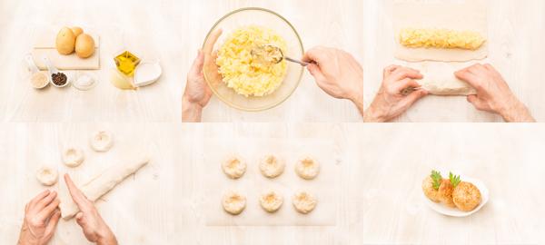 Knishes judíos de patata y cebolla