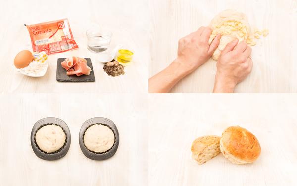 Pan de jamón serrano y queso semicurado