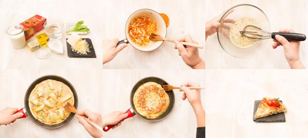 Tortilla de tomate y alcachofas
